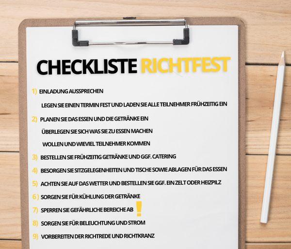 checkliste wie man ein richtfest organisiert