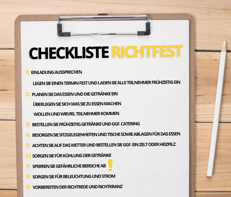 Richtfest Checkliste
